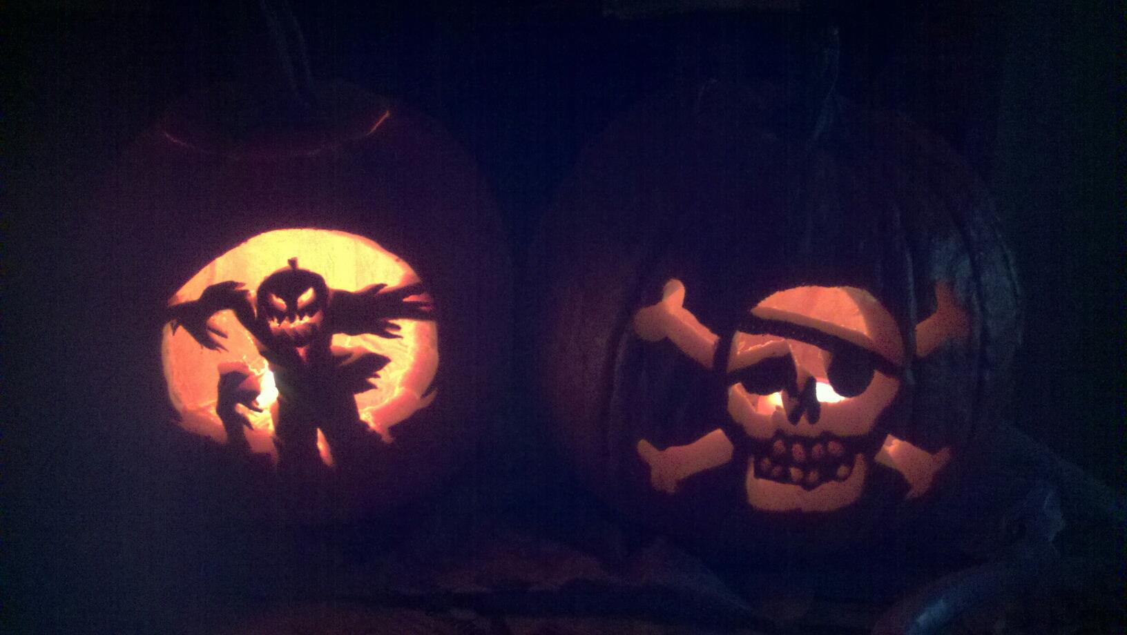 Halloween Scarecrow and Jolly Roger pumpkins